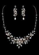 Pearl and Crystal Floral Bridal Jewelry Set in Silver or Rose Gold