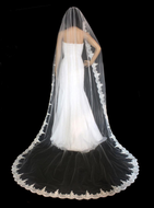 """120"""" Long Beaded French Alencon Lace Royal Cathedral Wedding Veil"""