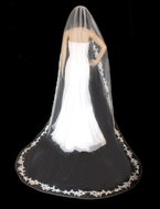 Beaded Floral Lace Cathedral Wedding Veil