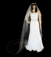 Two Layer Beaded Crystal and Rhinestone Cathedral Wedding Veil