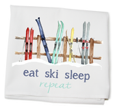 Flour Sack Towel, Skis on Fence, Eat Ski Sleep
