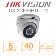 Hikvision 5MP Dome 1080p with  2.8mm - 12mm motorised zoom