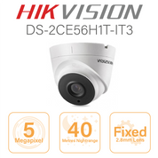 Hikvision 5MP Dome - 40 metre nightrange DS-2CE56H1T-IT3