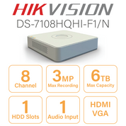 Hikvision DS-7108HQHI-F1/N 8 Channel DVR with HDMI and VGA Outputs