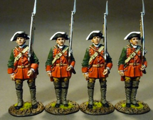 4 Line Infantry At Attention Set #2 - The Raid on St. Francis 1759