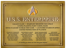 U.S.S. Enterprise NCC-1701-D Dedication Plaque