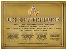 U.S.S. Enterprise NCC-1701-D Dedication Plaque