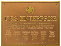 U.S.S. Enterprise NCC-1701-E Dedication Plaque