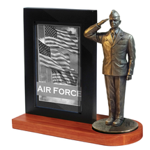 "Air Force Photo Frame Cherry Base and 7"" Bronze Cold Cast Statue"