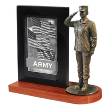 "Army Female Photo Frame Cherry Base and 7"" Bronze Cold Cast Statue"
