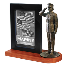 "Marine Female Photo Frame Cherry Base and 7"" Bronze Cold Cast Statue"
