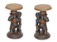 Pair of Venetian Hand Carved Blackamoor Side Tables w/Marble Top