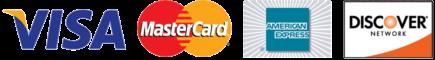 Visa, MasterCard, American Express, and Discover