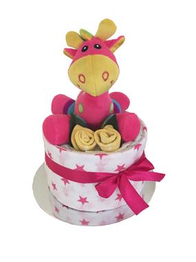 Giraffe rattle nappy cakes