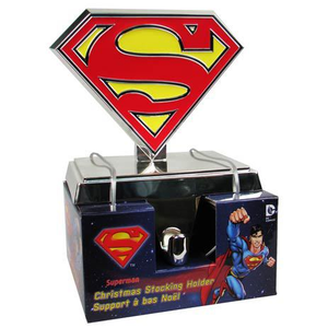 Superman Stocking Hanger Holder with S shield logo