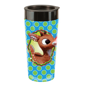 Rudolph the Red-Nosed Reindeer 16 oz. Plastic Travel Mug - Have a Holly, Jolly Christmas