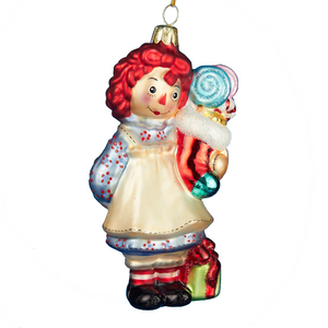 Raggedy Ann Hand-Crafted Glass Christmas Ornament