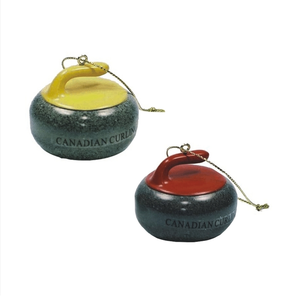 Red and yellow Curling Stone ornaments