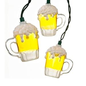Foaming beer mug light string - beer lights
