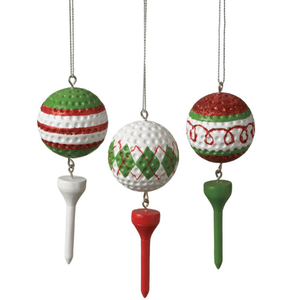Christmas golf balls and tees- 3 pack Christmas ornaments.