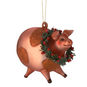 Barnyard Pig Glass Ornament
