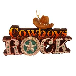 Cowboys Rock Ornament (front)