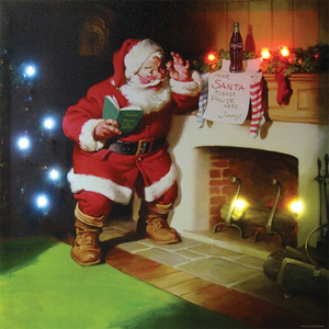 Coke Santa Lighted Canvas Wall Art