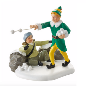 Michael and Buddy Snowball Fight - Elf Movie Department 56 Vilage