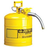 JUSTRITE 5 GAL YELLOW (DIESEL) TYPE II SAFETY CAN WITH FLEX METAL HOSE - 7250230