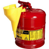 JUSTRITE 5 GAL RED SAFETY GAS CAN TYPE I WITH FUNNEL - 7150110
