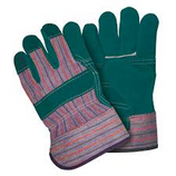 MEMPHIS GREEN TRIPLE LEATHER PALM WORK GLOVES / LARGE - 1455G