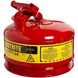 JUSTRITE 2-1/2 GAL RED SAFETY GAS CAN TYPE 1 NO FUNNEL - 7125100