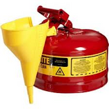 JUSTRITE 2-1/2 GALLON RED SAFETY GAS CAN TYPE I WITH FUNNEL - 7125110