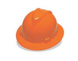 MSA ORANGE FULL BRIM SLOTTED HARD HAT WITH STAZ-ON PINLOCK SUSPENSION - 454734