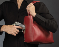 Classic short handled bag for underarm concealed carry option
