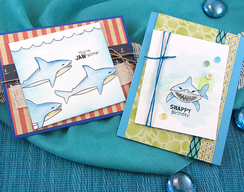 Shark birthday cards | Shark Bites Stamp Set by Newton's Nook Designs