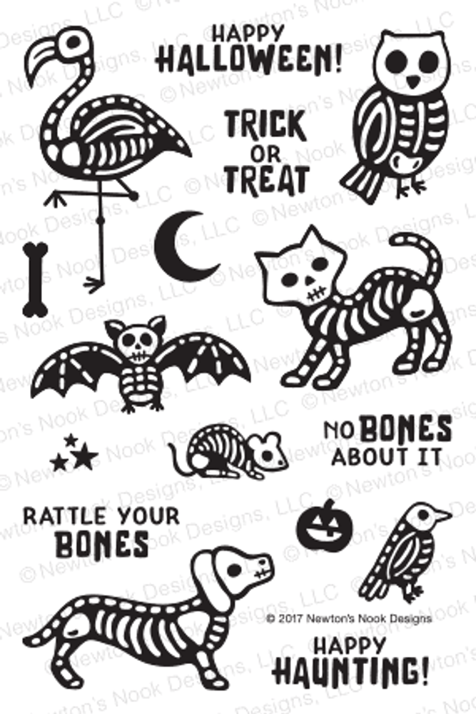 Spooky Skeletons Stamp Set by Newton's Nook Designs