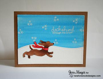Dachshund Winter Card | Holiday Hounds | 4x6 photopolymer Stamp Set | Newton's Nook Designs
