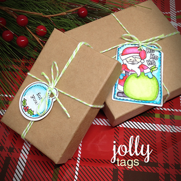 Santa Gift Tags | Jolly Tags | 4x6 Photopolymer Stamp Set | Newton's Nook Designs