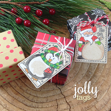 Santa and Penguin Gift Tags | Jolly Tags | 4x6 Photopolymer Stamp Set | Newton's Nook Designs