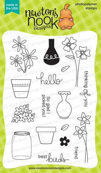Versatile Vases - 4x6 photopolymer flower, vases, pots, sentiments stamp set by Newton's Nook Designs.