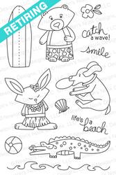 Beach Party   4x6 photopolymer Stamp Set   Newton's Nook Designs