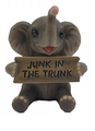"""Trunk Of Luck"" Mini Elephant Figurine With Sign - Junk In The Trunk"