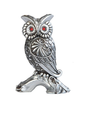 StealStreet SS-G-54368 Silver Engraved Owl on Branch with Red Gems Statue, 6""