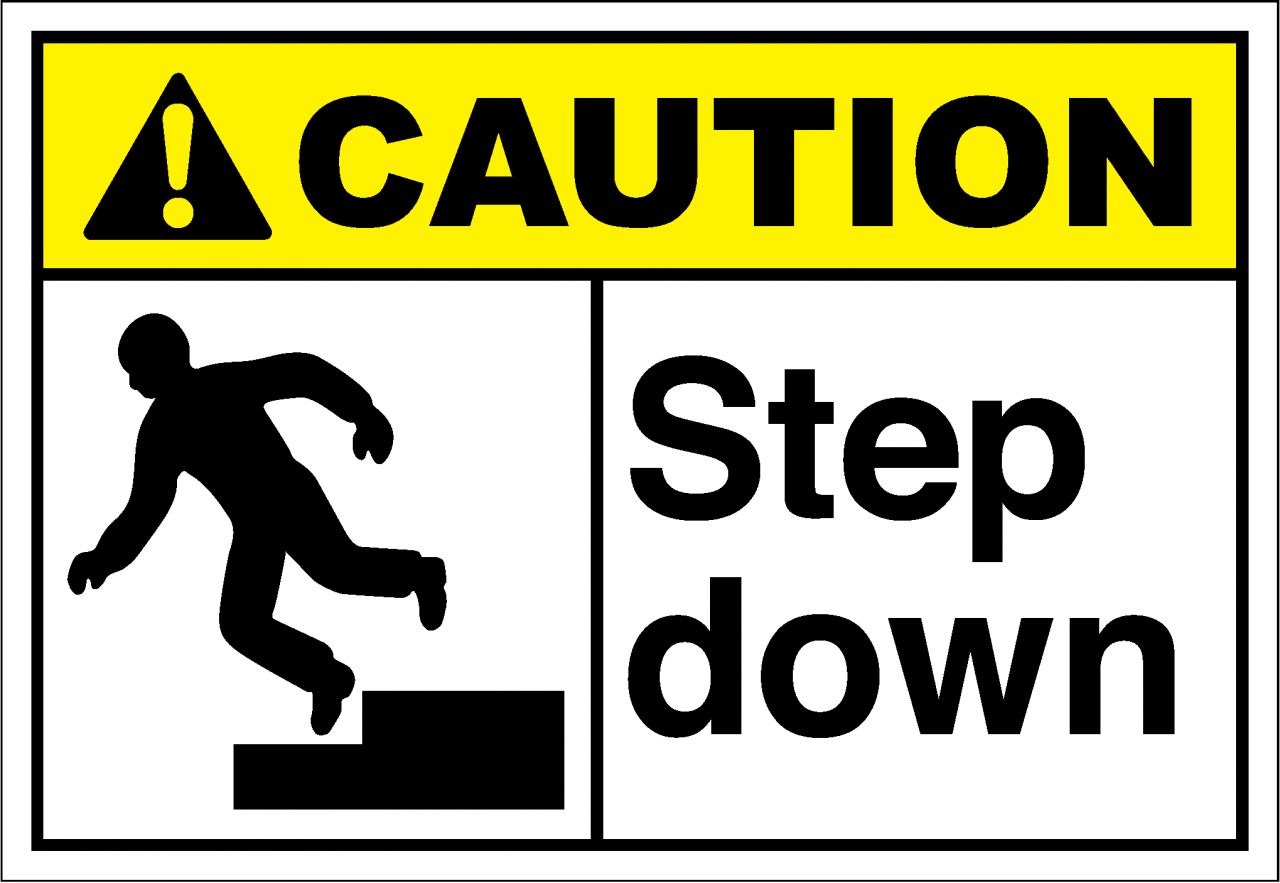 caution step down signs
