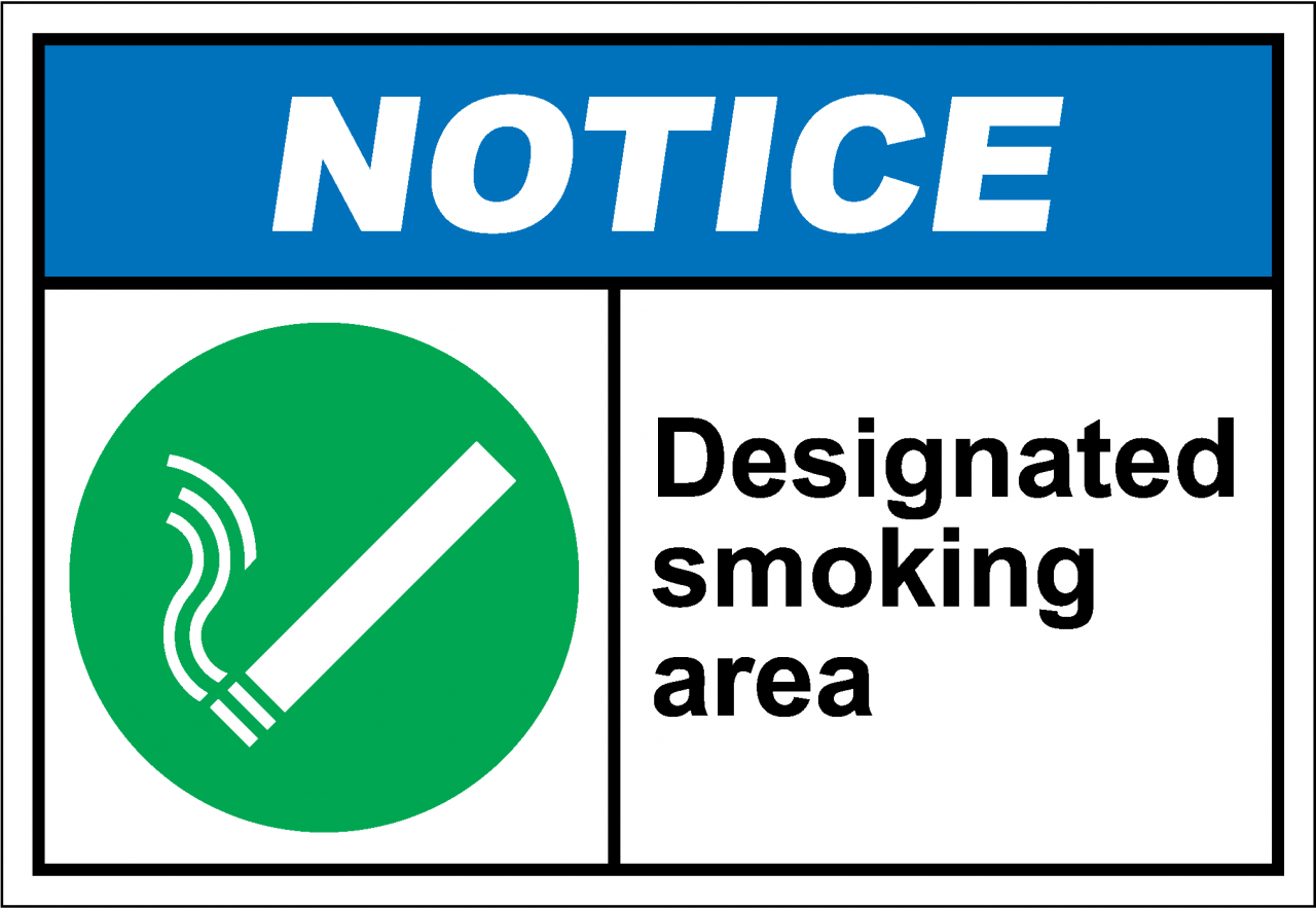 designated smoking areas essay The designated smoking area warnings must be provided on an 8 ½ by 11 inches sign posted at the entrance to and within the exposure area, in no smaller than 22-point.