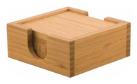 "CST01 - 4"" x 4"" Bamboo Square 4-Coaster Set with Holder"