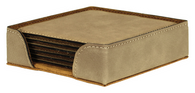 "GFT239 - 4"" Light Brown Square Laserable Leatherette 6-Coaster Set"