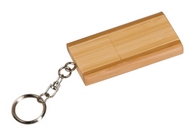 "8MEM003 - 1 3/8"" x 2 3/8"" 8GB 2-Tone Bamboo Flip Style USB Flash Drive with Keychain"
