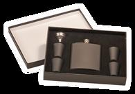 FSK652 - 6 oz. Matte Black Flask Set in Black Presentation Box